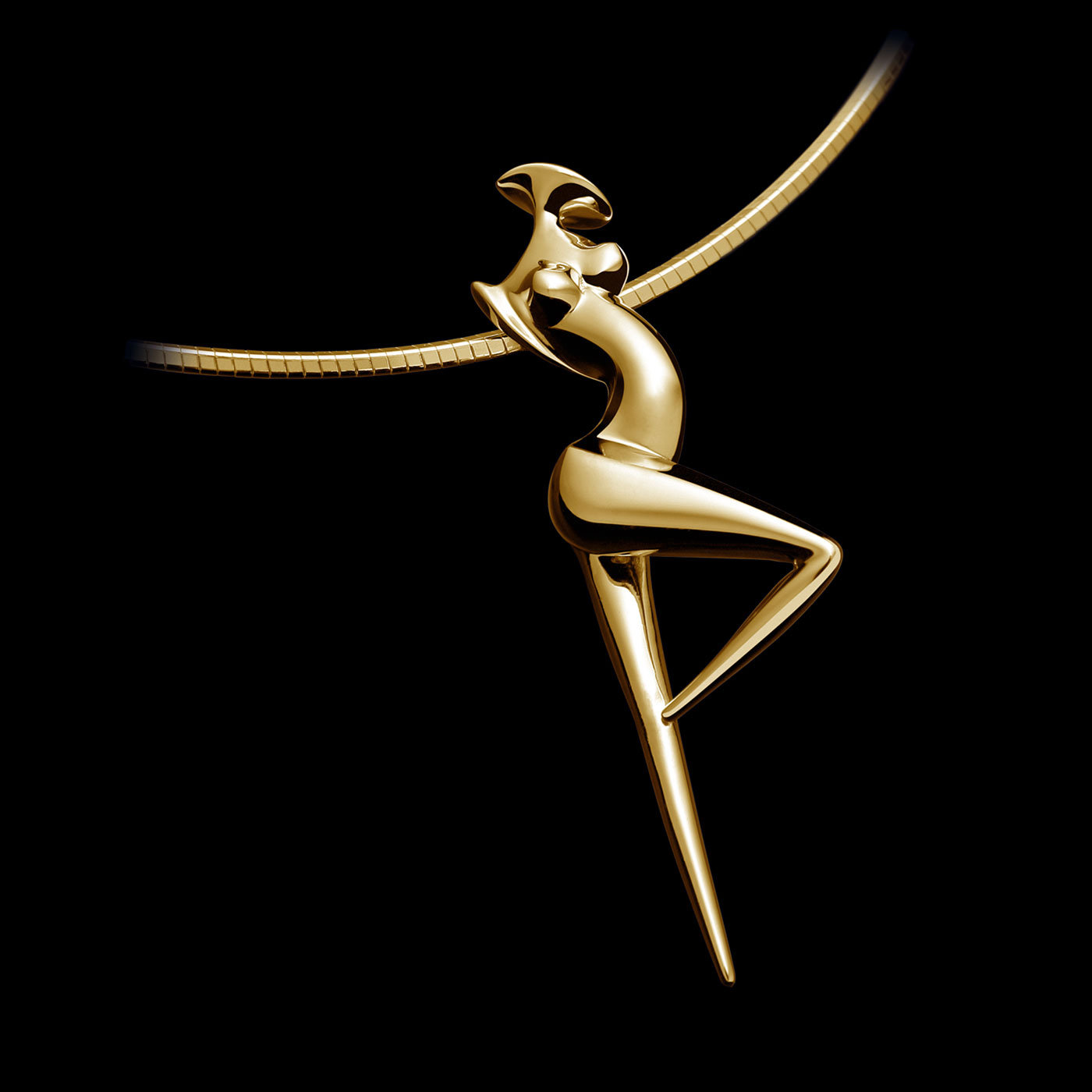 Pendant La Danseuse, contemporary Gold Jewel of sculptor Marion Bürkle