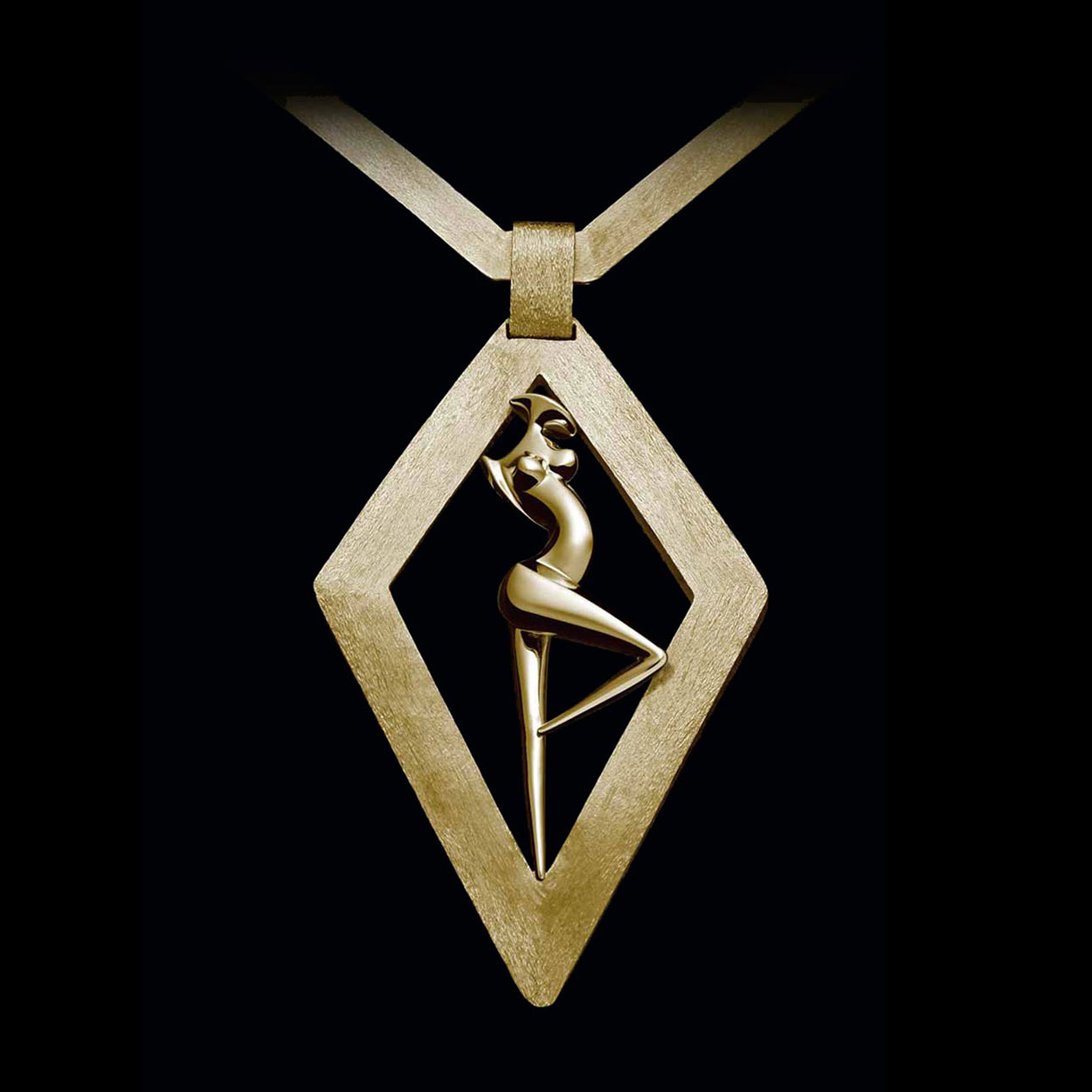 La Danseuse, Jewel Losange 18 - carat gold signed by the artist Marion Bürklé