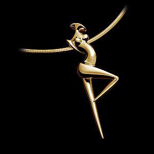 Pendant La Danseuse, contemporary Gold Jewel of sculptor Marion Bürkle
