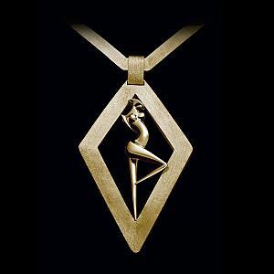 La Danseuse, pendentif losange en Or 18 carats signé Marion Bürklé